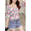 Pretty All over Cherry Pattern Bell Sleeve Square Neck Bow Tied Pleated Ruffled Fit Crop Blouse Top for Women