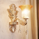 Mid Century Flower Shade Wall Light 1 Bulb Amber Ribbed Glass Wall Mount Lamp in Gold