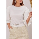Trendy Ladies Rhinestone Blouson Sleeve Crew Neck Regular Fit Blouse in White