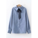 Pretty Ladies Solid Color Lace Bow Tied Front Long Sleeve Turn-down Collar Button up Relaxed Shirt