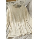 Novelty Solid Color Slit Crew Neck Long Sleeve Loose Fit Tunic Tee for Womens