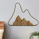 Asia Mountain Resin Mural Lamp LED Flush Mount Wall Sconce Light in Black and Gold