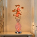 Lotus and Vase Bedroom Nightstand Light Art Deco LED Aluminum Night Table Lamp in Gold