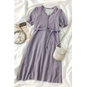 Simple Girls Solid Color Button Detail Tie Ruffle Trim V Neck Short Puff Sleeve Midi A Line Dress in Purple