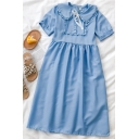 Fancy Girls Solid Color Ruffle Trim Button Tie Detail Pleated Peter Pan Collar Short Puff Sleeve Midi A Line Dress