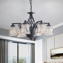 Clear Glass Floral Shade Down Lighting Retro Style 6/8 Bulbs Living Room Chandelier in Black