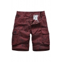 Trendy Shorts Tie Dye Pattern Flap Pocket Drawstring Button Zipper Mid Rise Regular Fit Cargo Shorts for Men