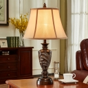 Font Resin Reading Book Light Traditional Single Study Room Fabric Night Table Lamp in Bronze