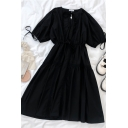 Chic Girls Solid Color Ruched Tiered Cut out Detail Tie Lace Patchwork Crew Neck Short Puff Sleeve Midi A Line Dress