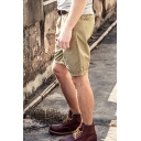 Dressy Mens Shorts Solid Color Pocket Zipper Mid Rise Regular Fitted Shorts