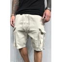 Dressy Mens Shorts Solid Color Ribbon Flap Pocket Drawstring Mid Rise Relaxed Fitted Cargo Shorts