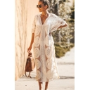 Beach Womens Allover Flower Embroidered Batwing Sleeves V-neck See-through Scalloped Long Shift Dress in White