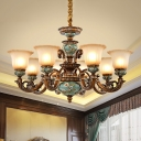 Floral Shade White Glass Pendant Traditional 6/8 Heads Living Room Ceramics Ceiling Chandelier in Brown