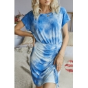 Unique Tie Dye Drawstring Ruched Crew Neck Short Sleeve Mini Sheath Dress for Women