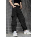 Street Womens Solid Color High Waist Flap Pockets Chain Embellished Cuffed Long Oversize Cargo Pants in Black
