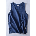 Cool Mens Tank Top Solid Color Split Sleeveless Scoop Neck Regular Fitted Tank Top