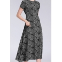 Womens Vintage All-over Floral Print Short Sleeve Crew-neck Mid A-line Dress