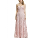 Gorgeous Girls Embossing Strapless Maxi A-line Tube Dress in Pink