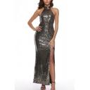 Popular Womens Sequins Sleeveless High Cut Side Backless Maxi Sheath Tank Dress in Black