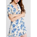 Popular Flower All over Printed Short Sleeve V-neck Ruffled Hem Short A-line Dress for Women