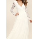 Elegant Womens See-through Lace Long Sleeve Scalloped V-neck Backless Maxi Flowy Prom Dress in White