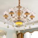 Flared Dining Room Chandelier Modern Seedy Crystal 6-Light Yellow Hanging Light Kit