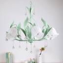 Bell Flower Milk Glass Chandelier Rural 6-Head Living Room Pendant Lamp in Pink/Blue/Green with Crystal Drip