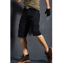 Casual Mens Shorts Solid Color Zip Fly Button Detail Straight Fit Knee Length Cargo Shorts with Flap Pockets