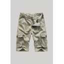 Fashion Mens Shorts Printed Zip Fly Button Detail Knee Length Straight Fit Chino Shorts with Flap Pockets