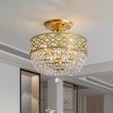 3-Light Basket Shape Flush Chandelier Modern Gold Crystal Semi Flush Mount Ceiling Light