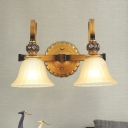 2 Lights Wall Mount Light with Bell Shade White Glass Traditional Hallway Wall Lamp Fixture in Brass