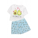 Lovely Girls Letter Cartoon Donut Graphic Short Sleeve Crew Neck Relaxed Crop T Shirt & Drawstring Waist Allover Cartoon Print Shorts Set in White