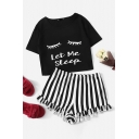 Popular Womens Letter Let Me Steep Cartoon Eyes Graphic Short Sleeve Round Neck Relaxed Crop Tee & Striped Stringy Selvedge Shorts Co-ords