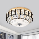 Crystal Encrusted LED Ceiling Light Simple Black Concave/Convex/Flat Round Foyer Flush Mounted Lamp