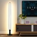Slim Oblong Frame Reading Floor Lamp Modernism Metallic LED Bedside Stand Up Light in White/Black