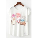 Chic Letter Cat Cartoon Graphic Short Sleeve Round Neck Loose Tee Top in White