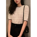 Stylish Womens Allover Heart Pattern Contrast Piped Relaxed Knitted Top