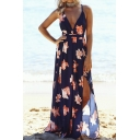 Gorgeous Ladies Allover Flower Printed Spaghetti Straps Deep V-neck High Cut Hollow out Back Maxi Wrap Flowy Cami Dress in Navy