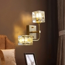Post Modern 2-Head Wall Lamp Fixture with Crystal Shade Gold Finish Cube LED Wall Mounted Light