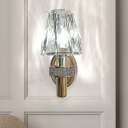 1 Head Clear Crystal Block Wall Lamp Postmodern Gold Conical Bedside Wall Mounted Light