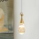 Teardrop Clear Crystal Suspension Light Minimalist LED Gold Ceiling Pendant Lamp