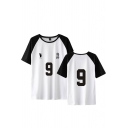 Popular Mens Number 9 Footprint Graphic Contrasted Raglan Short Sleeve Round Neck Loose T Shirt