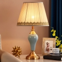 1-Light Ceramic Night Lamp Traditional Aqua/Silver Gray/Beige Urn Living Room Table Lighting with Pleated Fabric Shade