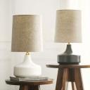 Barrel Fabric Table Lighting Minimalistic 1 Head Sitting Room Nightstand Lamp in White/Grey