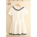 Trendy Girls Striped Short Sleeve Button up Sailor Collar Mini Pleated A-line Dress