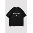 Fashion Mens Letter Kawhitho Hand Graphic Short Sleeve Crew-neck Loose Fit T Shirt