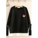 Preppy Girls Fox Embroidered Bow Tied Long Sleeve Round Neck Patchwork Loose Fit Pullover Sweatshirt in Black