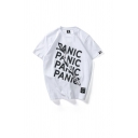 Mens Simple Letter Panic Printed Crew Neck Short Sleeve Relaxed Fitted T-Shirt