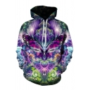 Trendy 3D Butterfly Floral Pattern Pocket Drawstring Long Sleeve Regular Fitted Hooded Sweatshirt for Men