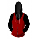 Cool Mens Colorblock 3D Pattern Long Sleeve Drawstring Zipper Front Loose Hoodie in Red